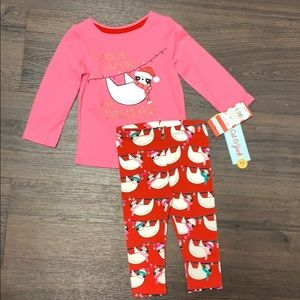 Baby girls Christmas outfit pink legging 12 months